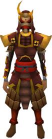 Superior tetsu armour equipped (female).png: Superior tetsu helm equipped by a player