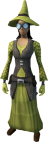 Runecrafter robes (yellow, goggles on) equipped (female).png: Runecrafter hat (The Great Orb Project, yellow) equipped by a player