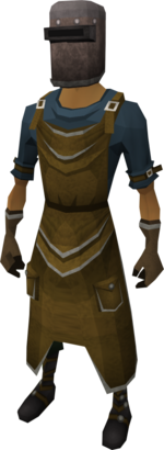 A player wearing the blacksmith's armour set.