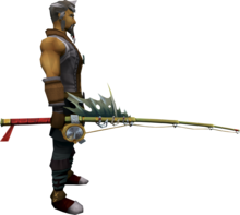 Tavia's fishing rod equipped.png: Tavia's fishing rod equipped by a player
