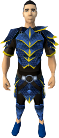 Blue dragonhide armour (g) equipped (male).png: Blue dragonhide chaps (g) equipped by a player