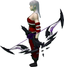 Seren godbow (shadow) equipped.png: Augmented Seren godbow (shadow) equipped by a player