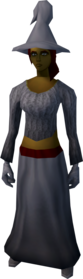 Robe outfit (grey) equipped (female).png: Boots (grey) equipped by a player