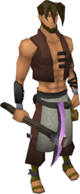 Novite pickaxe equipped.png: Novite pickaxe equipped by a player