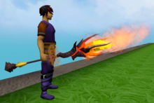 Staff of limitless fire equipped.png: Staff of limitless fire equipped by a player