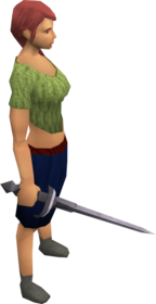 Fractite rapier equipped.png: Fractite rapier equipped by a player