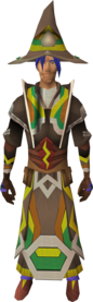 Infinity robe armour (Earth) equipped (male).png: Infinity hat (Earth) equipped by a player