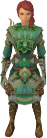 Prifddinian worker's outfit equipped.png: Prifddinian worker's robes equipped by a player