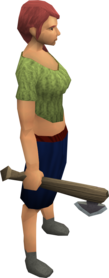 Bathus hatchet equipped.png: Bathus hatchet equipped by a player