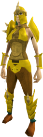 Golden Dharok's armour equipped (female).png: Golden Dharok's helm equipped by a player