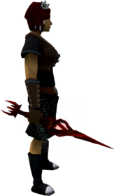 Wand of the praesul (blood) equipped.png: Augmented wand of the praesul (blood) equipped by a player