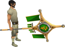 Banner of Bandos (tier 4) equipped.png: Banner of Bandos equipped by a player