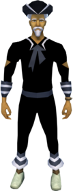 Naval outfit (black) equipped (male).png: Black tricorn hat equipped by a player