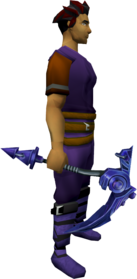 Bane pickaxe + 4 equipped.png: Bane pickaxe + 4 equipped by a player