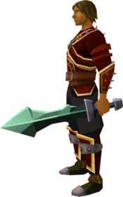 Off-hand adamant ceremonial sword III equipped.png: Off-hand adamant ceremonial sword III equipped by a player