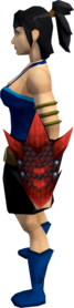 Red dragonhide shield equipped.png: Red dragonhide shield equipped by a player