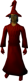 Robe outfit (red) equipped (male).png: Robe top (red) equipped by a player