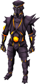 Obsidian armour (warrior helm and plateskirt) equipped (male).png: Obsidian gloves equipped by a player