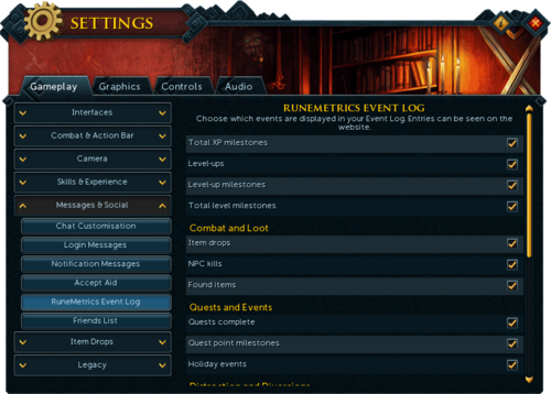 Settings Social Runemetrics Event Log.png
