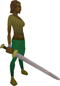 Vesta's longsword equipped.png: Corrupt Vesta's longsword equipped by a player