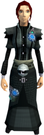 Augmented Ahrim's armour equipped (female).png: Augmented Ahrim's robe top equipped by a player