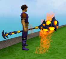 Staff of limitless lava equipped.png: Staff of limitless lava equipped by a player