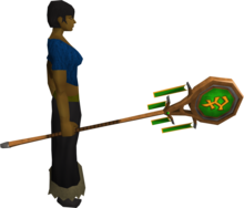 Banner of Bandos (tier 2) equipped.png: Banner of Bandos equipped by a player