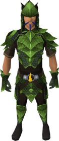 Blessed dragonhide armour (Guthix) equipped (male).png: Blessed dragonhide chaps (Guthix) equipped by a player