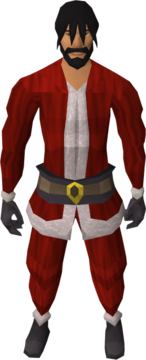 A male player wearing the Santa suit