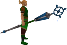 Enhanced ancient staff (blue) equipped.png: Enhanced ancient staff (blue) equipped by a player