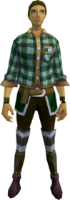 Green checkered shirt equipped.png: Green checkered shirt equipped by a player