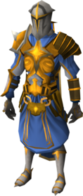 Warpriest of Saradomin armour equipped (male).png: Warpriest of Saradomin greaves equipped by a player