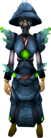Fungal armour equipped (female).png: Fungal visor equipped by a player