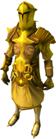 Golden warpriest of Saradomin armour equipped (male).png: Golden warpriest of Saradomin boots equipped by a player