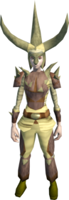 Graahk outfit equipped (female).png: Graahk headdress equipped by a player