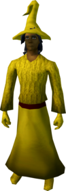 Robe outfit (yellow) equipped (male).png: Robe bottoms (yellow) equipped by a player