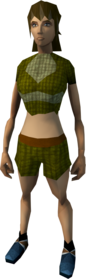 Woven top and shorts (brown) equipped (female).png: Shorts (brown) equipped by a player