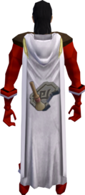 Hooded archaeology cape equipped.png: Hooded archaeology cape equipped by a player