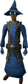 Runecrafter robes (blue, goggles on) equipped (male).png: Runecrafter hat (blue, goggles on) equipped by a player