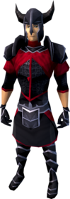 Black armour (light) equipped (male).png: Black plateskirt equipped by a player