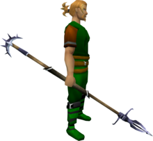 Zamorakian spear equipped.png: Zamorakian spear equipped by a player