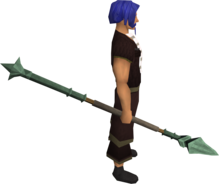 Adamant spear equipped.png: Adamant spear equipped by a player