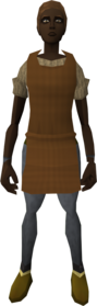 Brown apron equipped (female).png: Brown apron equipped by a player