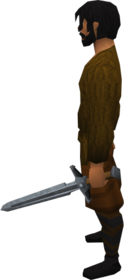 Steel off hand sword equipped.png: Steel off hand sword equipped by a player