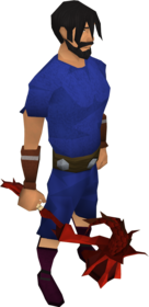 Dragon warhammer equipped.png: Dragon warhammer equipped by a player