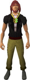 Shiny two-leaf clover necklace equipped.png: Shiny two-leaf clover necklace equipped by a player