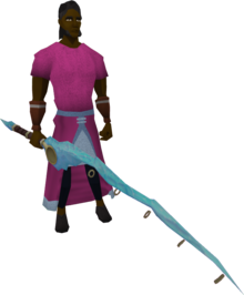 Crystal fishing rod equipped.png: Crystal fishing rod equipped by a player