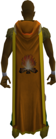 Hooded firemaking cape (t) equipped.png: Hooded firemaking cape (t) equipped by a player