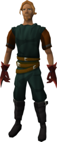 Red spiky vambraces equipped.png: Red spiky vambraces equipped by a player