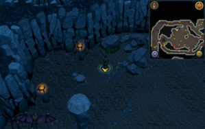 Scan clue Taverley Dungeon north east of chamber with Cauldron of Thunder.png